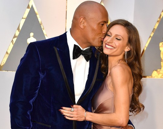 Dwayne Johnson and Lauren Hashian at the 89th Annual Academy Awards