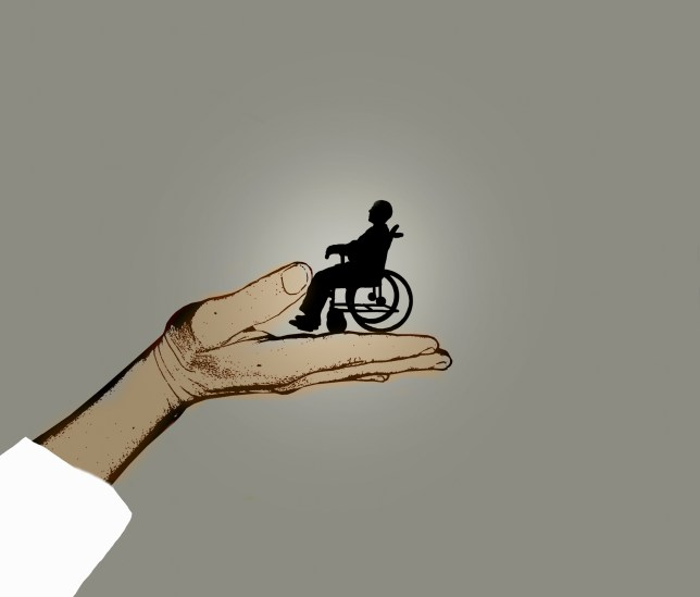 Illustration of a man in a wheelchair held in a doctor's hand