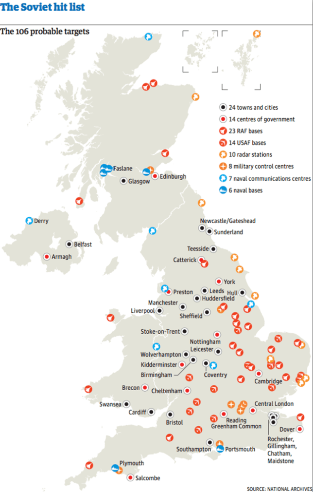 Map Of England Showing Cities And Towns.Russian Nuclear Target Map Uk How To Survive World War 3 Apocalypse