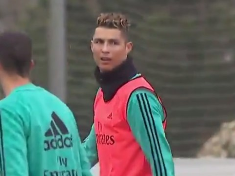 Cristiano Ronaldo scores another bicycle kick in Real Madrid training