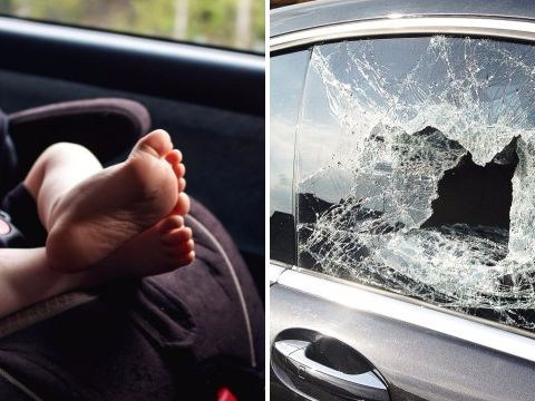 Can you break a car window if a child is locked inside on a hot day?
