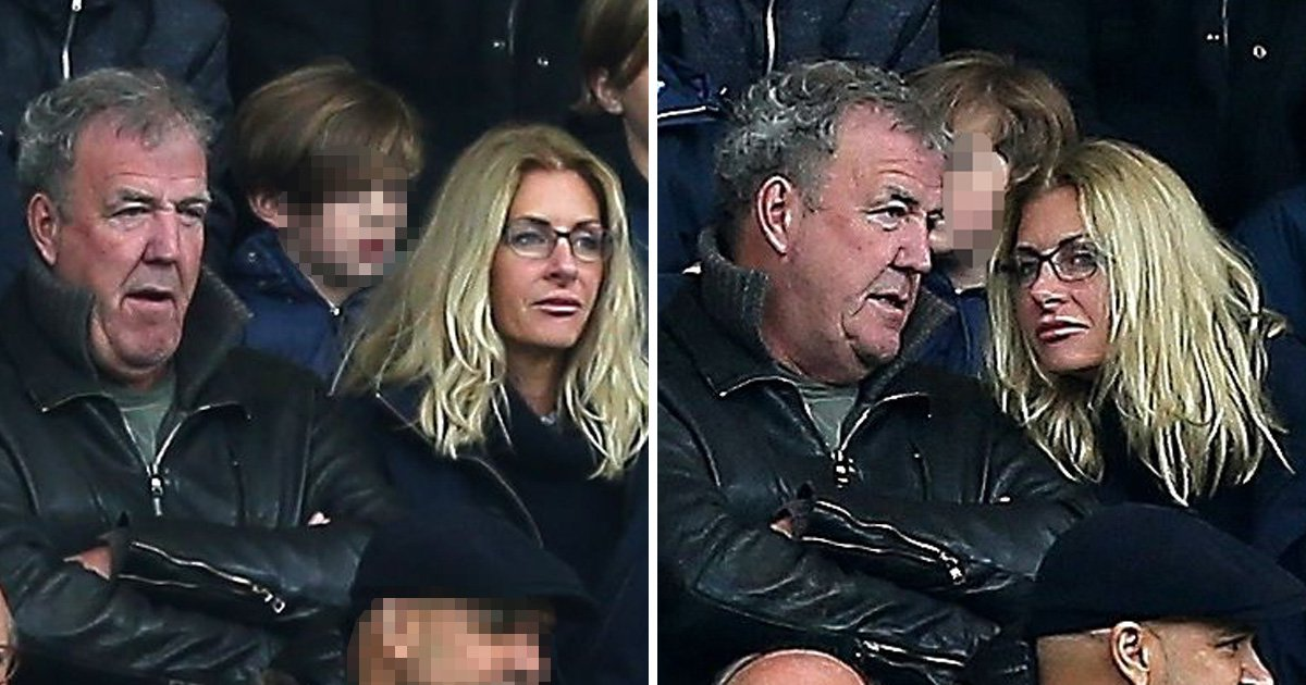 Jeremy Clarkson remains stoic at football match with Lisa Hogan as he confirms 'Grand Tour 3 shooting is underway'