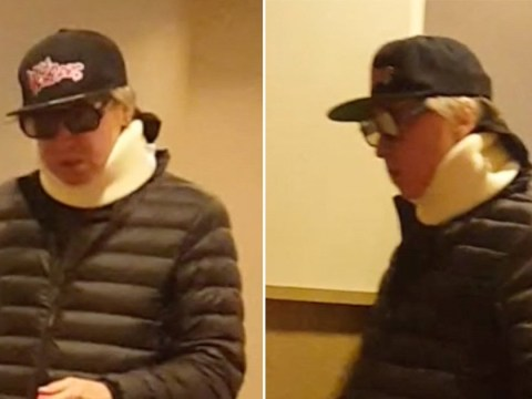 Val Kilmer pictured wearing neck brace after two year throat cancer battle