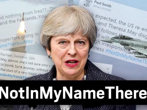 Anger over planned air strikes as people tweet #NotInMyNameTheresaMay