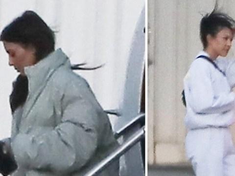 Kim and Kourtney Kardashian jet back from Ohio after Khloe gives birth