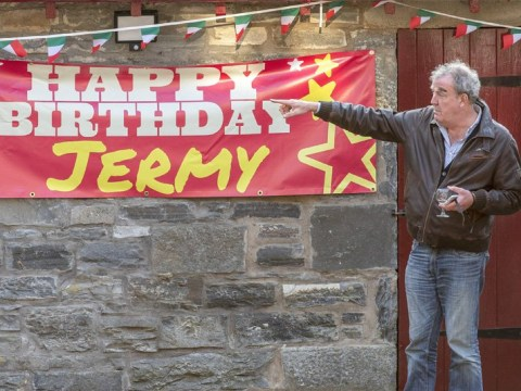 Jeremy Clarkson chugs wine as he celebrates 58th birthday with giant, misspelled sign