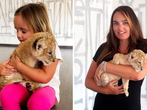 Tamara Ecclestone shares 'heart melting' moment her daughter met a lion cub for the first time