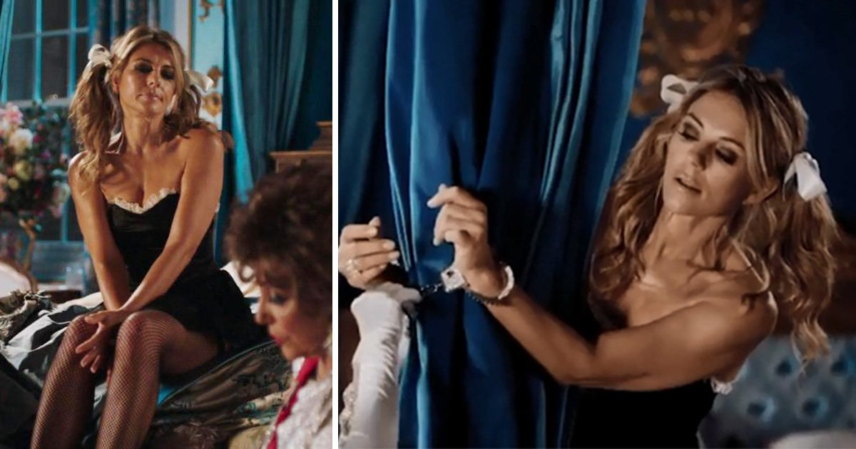 Liz Hurley is caught handcuffed to a bed wearing French maid outfit in The Royals