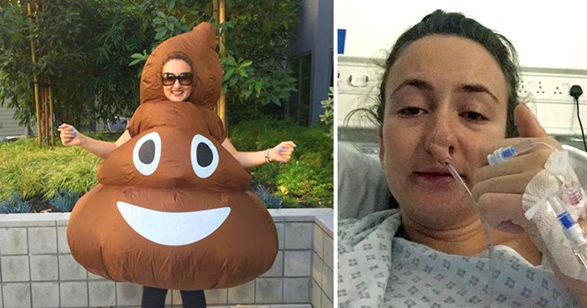 Woman will run the London Marathon dressed as a poo emoji to raise awareness of bowel cancer