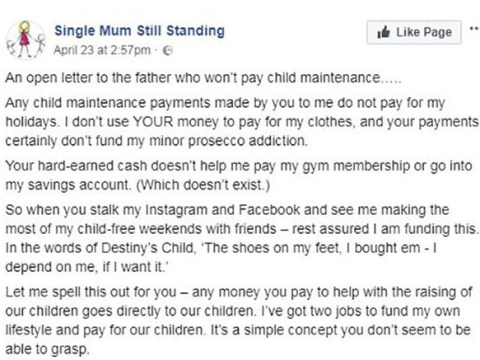 Furious single mum posts 1,300 word letter to 'the father who won't pay child maintenance'