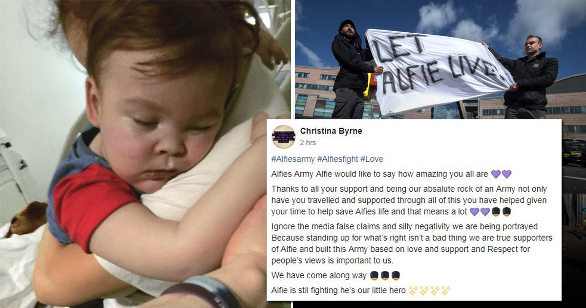 Alfie Evans supporter told his 'army' to 'ignore silly negative' backlash