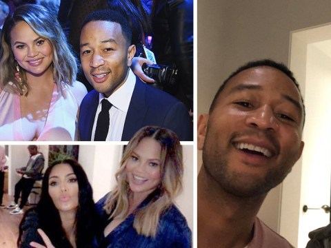Chrissy Teigen and John Legend joined by Kim Kardashian and Kanye West for lavish baby shower