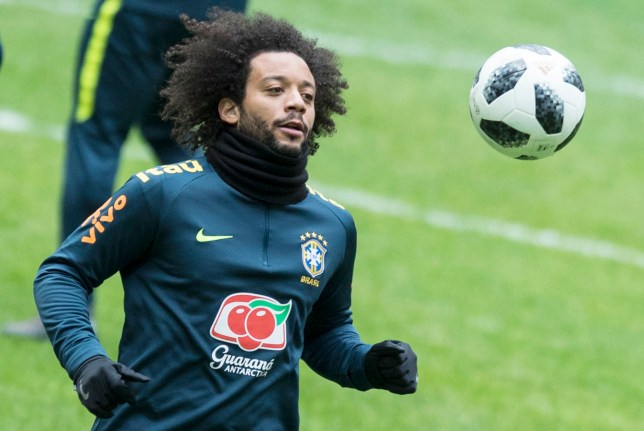 Brasil's Marcelo attends a training session at the Luzhniki stadium in Moscow, Russia, Thursday, March 22, 2018. Russia will face Brazil in a friendly match on Friday, March 23. (AP Photo/Pavel Golovkin)