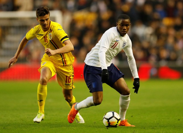Soccer Football - Under 21 International Friendly - England vs Romania - Molineux Stadium, Wolverhampton, Britain - March 24, 2018 England???s Ademola Lookman in action with Romania???s Dragos Nedelcu Action Images via Reuters/Andrew Boyers