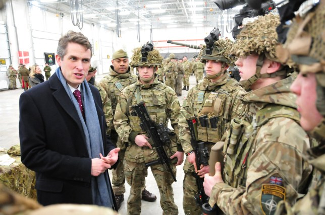 British Defence Secretary Gavin Williamson visits UK troops of the NATO Enhanced Forward Presence battle group at the military base in Tapa, Estonia March 25, 2018. REUTERS/Janis Laizans