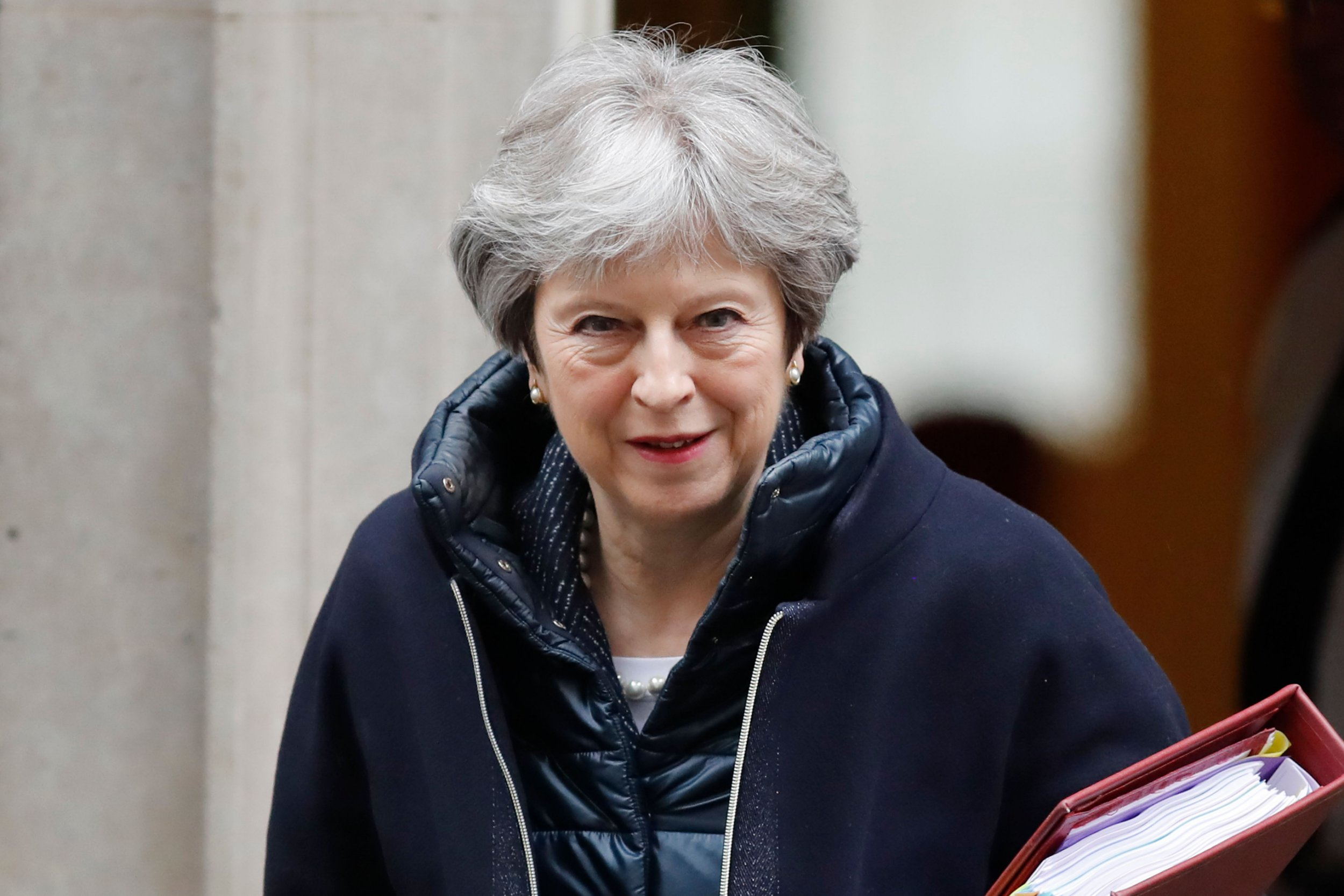 Britain's Prime Minister Theresa May leaves 10 Downing Street in London on March 28, 2018 ahead of the weekly Prime Ministers Questions session in the House of Commons. / AFP PHOTO / Tolga AKMENTOLGA AKMEN/AFP/Getty Images