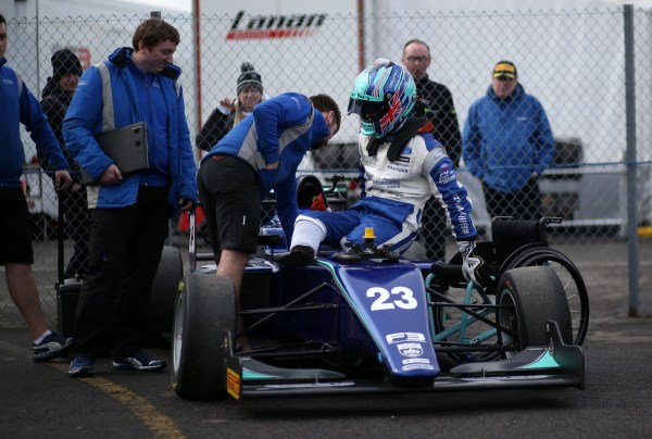 Mandatory Credit: Photo by REX/Shutterstock (9488666c) OULTON PARK CIRCUIT, UNITED KINGDOM - MARCH 31: Billy Monger (GBR) Carlin BRDC British F3 during the Oulton Park at Oulton Park Circuit on March 31, 2018 in Oulton Park Circuit, United Kingdom. 2018 Oulton Park