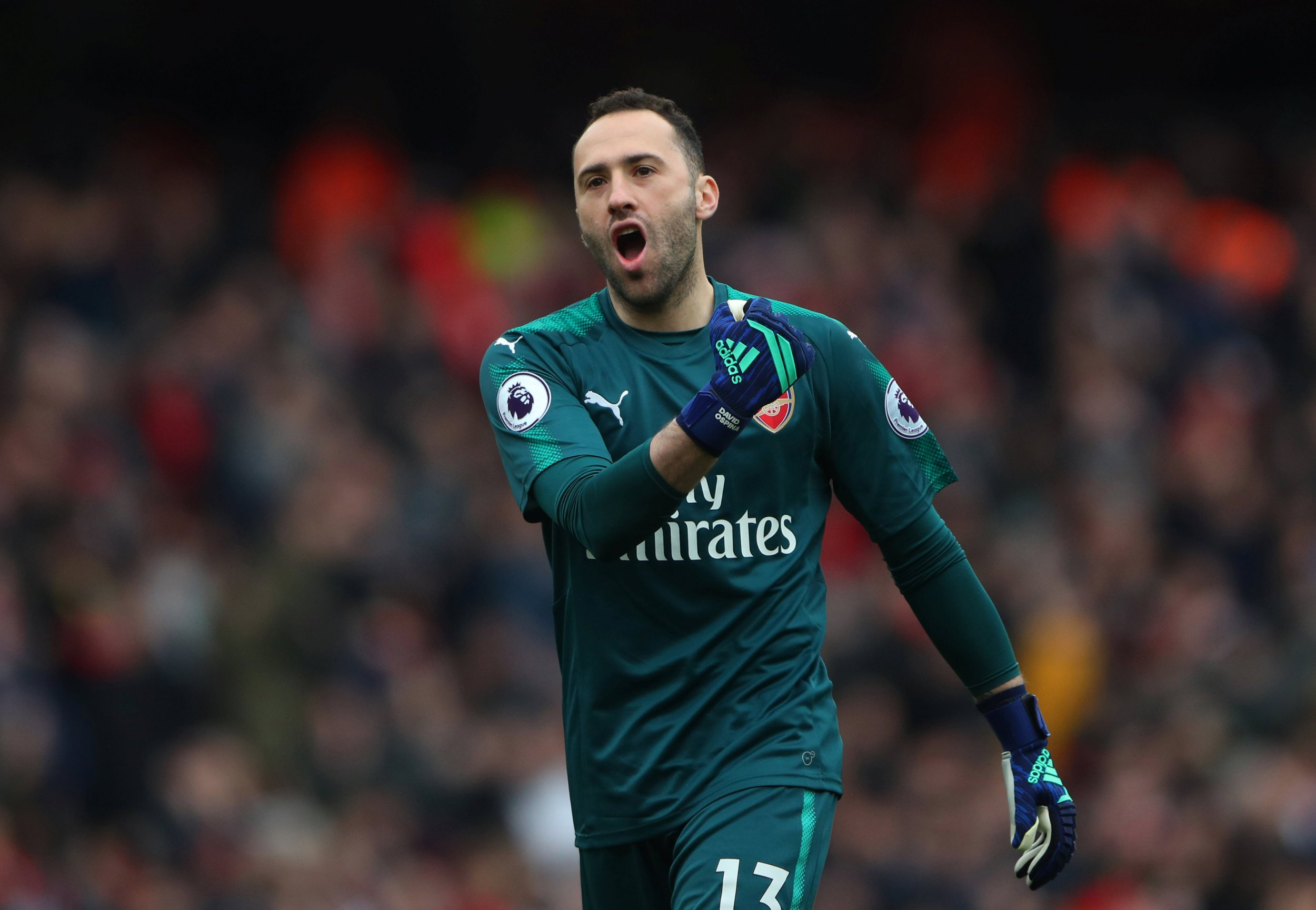 "Soccer Football - Premier League - Arsenal vs Stoke City - Emirates Stadium, London, Britain - April 1, 2018 Arsenal's David Ospina celebrates their second goal scored by Arsenal's Pierre-Emerick Aubameyang REUTERS/Hannah McKay EDITORIAL USE ONLY. No use with unauthorized audio, video, data, fixture lists, club/league logos or ""live"" services. Online in-match use limited to 75 images, no video emulation. No use in betting, games or single club/league/player publications. Please contact your account representative for further details."