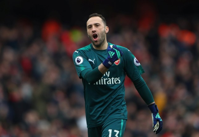 """Soccer Football - Premier League - Arsenal vs Stoke City - Emirates Stadium, London, Britain - April 1, 2018 Arsenal's David Ospina celebrates their second goal scored by Arsenal's Pierre-Emerick Aubameyang REUTERS/Hannah McKay EDITORIAL USE ONLY. No use with unauthorized audio, video, data, fixture lists, club/league logos or """"live"""" services. Online in-match use limited to 75 images, no video emulation. No use in betting, games or single club/league/player publications. Please contact your account representative for further details."""
