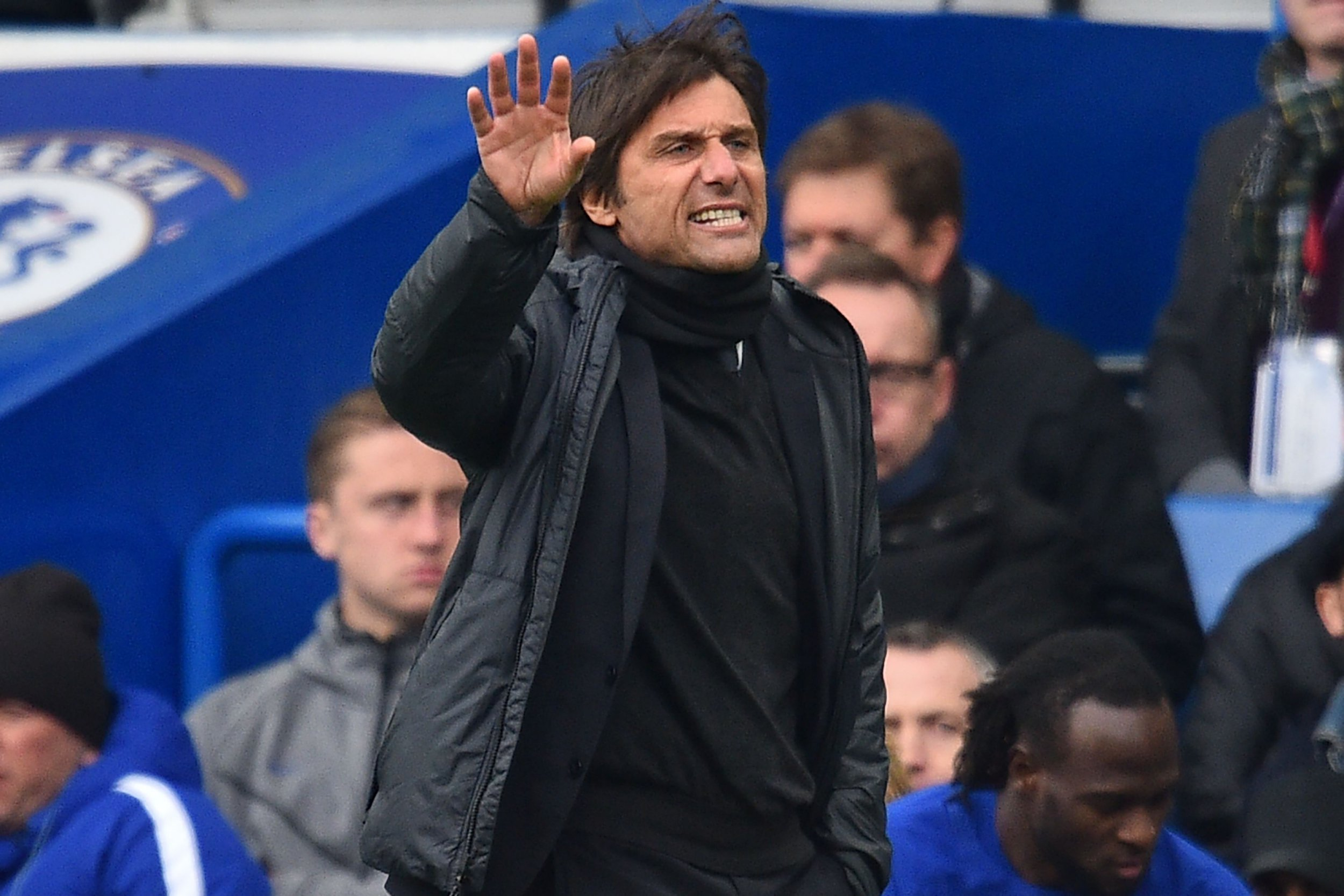 Chelsea's Italian head coach Antonio Conte gestures on the touchline during the English Premier League football match between Chelsea and Tottenham Hotspur at Stamford Bridge in London on April 1, 2018. Tottenham won the game 3-1. / AFP PHOTO / Glyn KIRK / RESTRICTED TO EDITORIAL USE. No use with unauthorized audio, video, data, fixture lists, club/league logos or 'live' services. Online in-match use limited to 75 images, no video emulation. No use in betting, games or single club/league/player publications. / GLYN KIRK/AFP/Getty Images