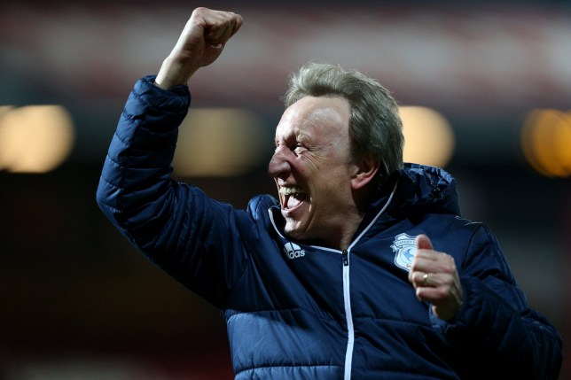 BRENTFORD, ENGLAND - MARCH 13: Neil Warnock, Manager of Cardiff City celebrates victory after the Sky Bet Championship match between Brentford and Cardiff City at Griffin Park on March 13, 2018 in Brentford, England. (Photo by James Chance/Getty Images)
