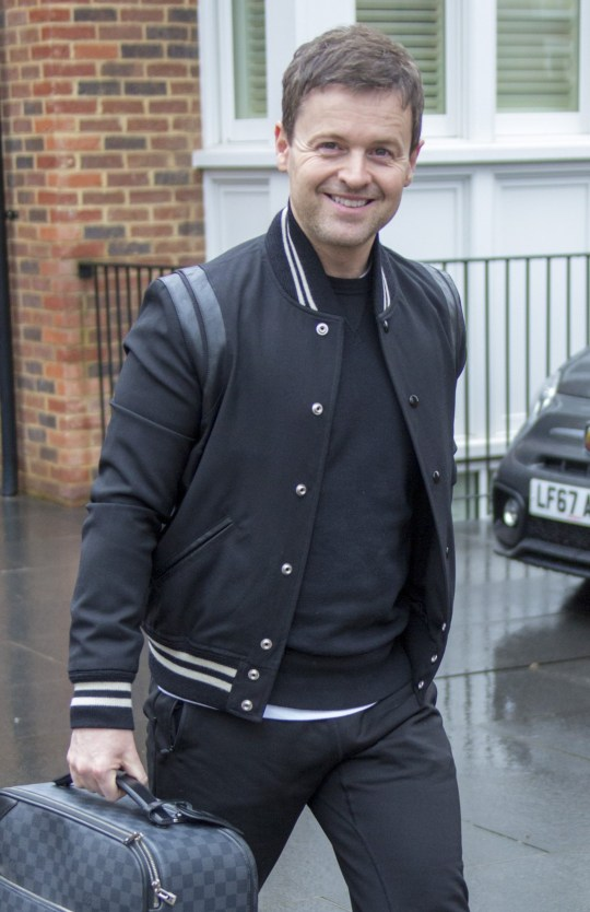 Picture Shows: Declan Donnelly April 02, 2018 * Min web / Online Fee ?300 For Set * * Min Paper Print Fee ?300 PP * Dec Donnely leaves home on his way to the airport in London, England, UK. He is flying to Florida to film the final episode of Ant and Decs Saturday Night Takeaway. * Min web / Online Fee ?300 For Set * * Min Paper Print Fee ?300 PP * Exclusive - All Round WORLDWIDE RIGHTS Pictures by : Flynet Pictures ? 2018 Tel : +44 (0)20 3551 5049 Email : info@flynetpictures.co.uk