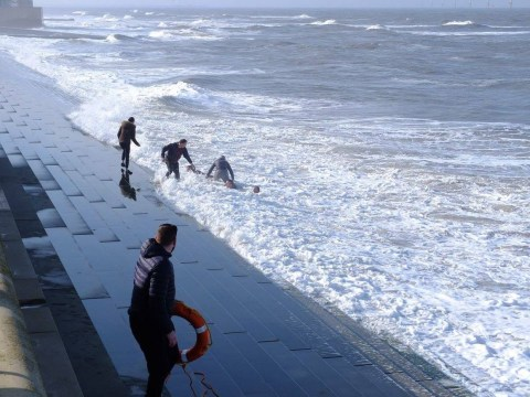 Four taken to hospital after falling in sea during botched rescue mission