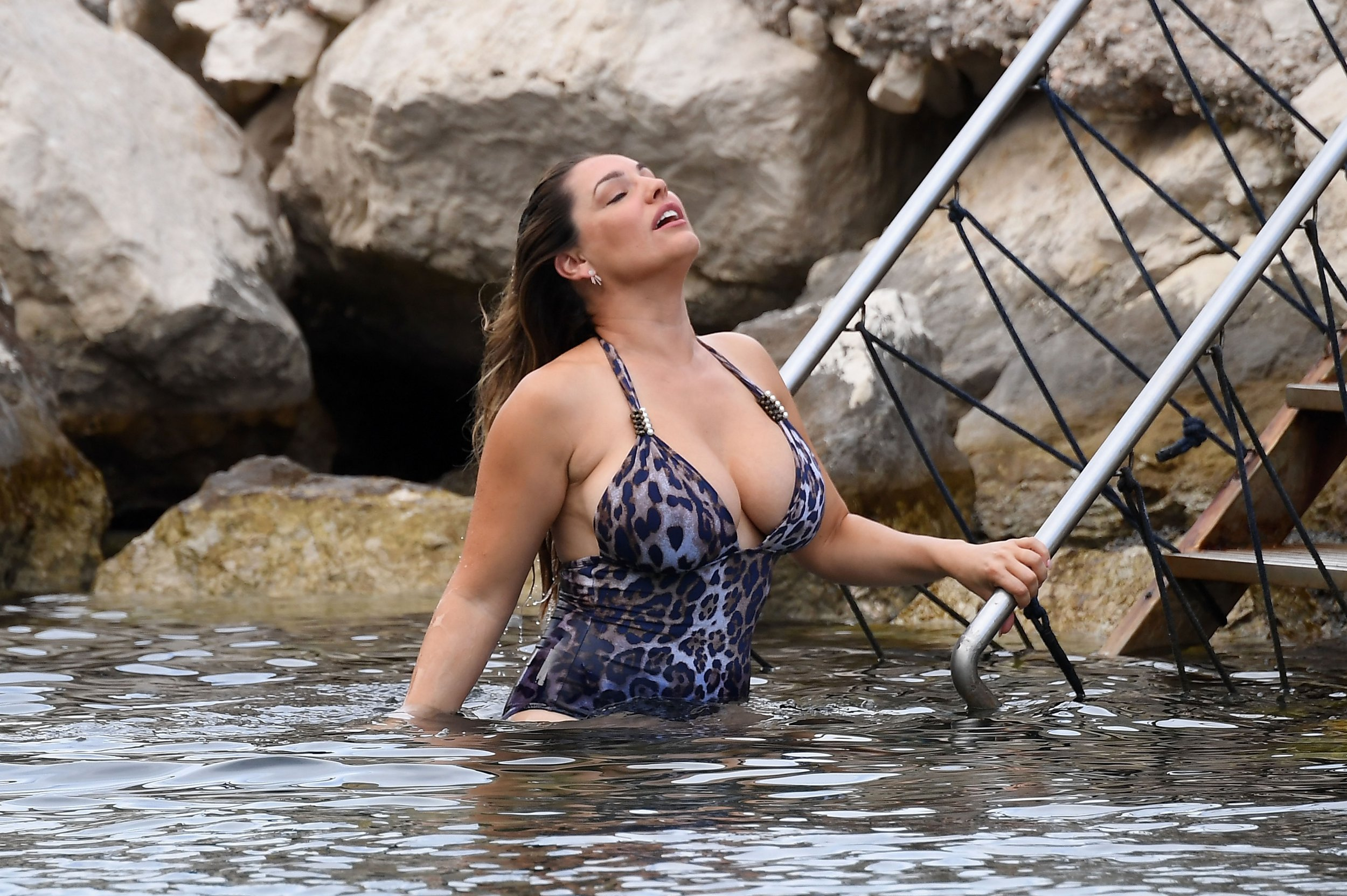 ISCHIA, ITALY - JULY 14: Jeremy Parisi and Kelly Brook are seen on July 14, 2016 in Ischia, Italy. (Photo by Pretaflash/GC Images)