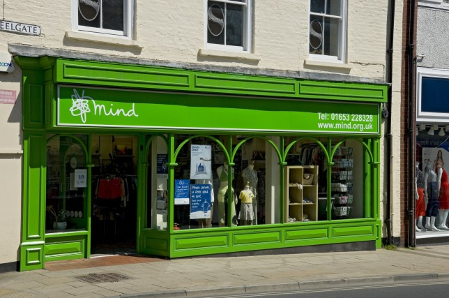 Exterior of a Mind charity shop. (Photo by: Loop Images/UIG via Getty Images)