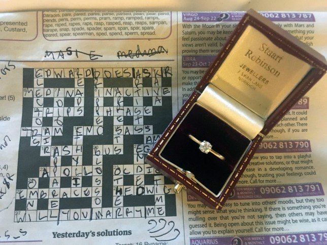 Collect pic of cryptic crossword proposal and engagement ring See Masons copy MNPROPOSE: See Masons copy MNPROPOSE: A cleverness thinker created a cryptic crossword and published it in a newspaper to propose to his girlfriend. See story MNPROPOSE. It took Edward Fraser, 30, three months to graft together a cryptic crossword which worked out to spell 'will you marry me?' amongst other sentimental words. Edward and his girlfriend, Rachel Herman, regularly play crossword together which meant he thought it would only be right to propose using one he knows she would complete. He made sure that to her on their seven year anniversary.