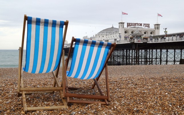 Empty deck chairs sit on Brighton beach this morning. PRESS ASSOCIATION Photo. Picture date: Saturday April 7, 2018. Photo credit should read: Gareth Fuller/PA Wire
