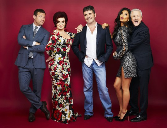 EDITORIAL USE ONLY - NO MERCHANDISING Mandatory Credit: Photo by Thames/Syco/REX/Shutterstock (9177288d) Dermot O'Leary, Sharon Osbourne, Simon Cowell, Nicole Scherzinger and Louis Walsh 'The X Factor' TV show, Series 14, Judges - 28 Oct 2017