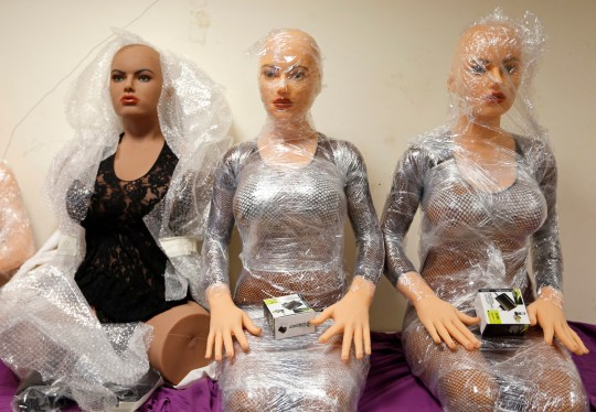 Silicone dream dolls are seen at the workshop of the Dreamdoll company in Duppigheim near Strasbourg, December 2, 2014. The realistic silicone sex dolls can be ordered from a catalogue based on four hair and eye color models for a base price of 5,500 euros ($6,150). The dolls weigh around 40 kilos due to a lightweight aluminum structure and take a week to construct. The company of three employees produces some one hundred custom-made silicone sex dolls a year, mainly for European customers. Picture taken December 2, 2014. REUTERS/Vincent Kessler (FRANCE - Tags: SOCIETY BUSINESS TPX IMAGES OF THE DAY) - LR2EB351C934V