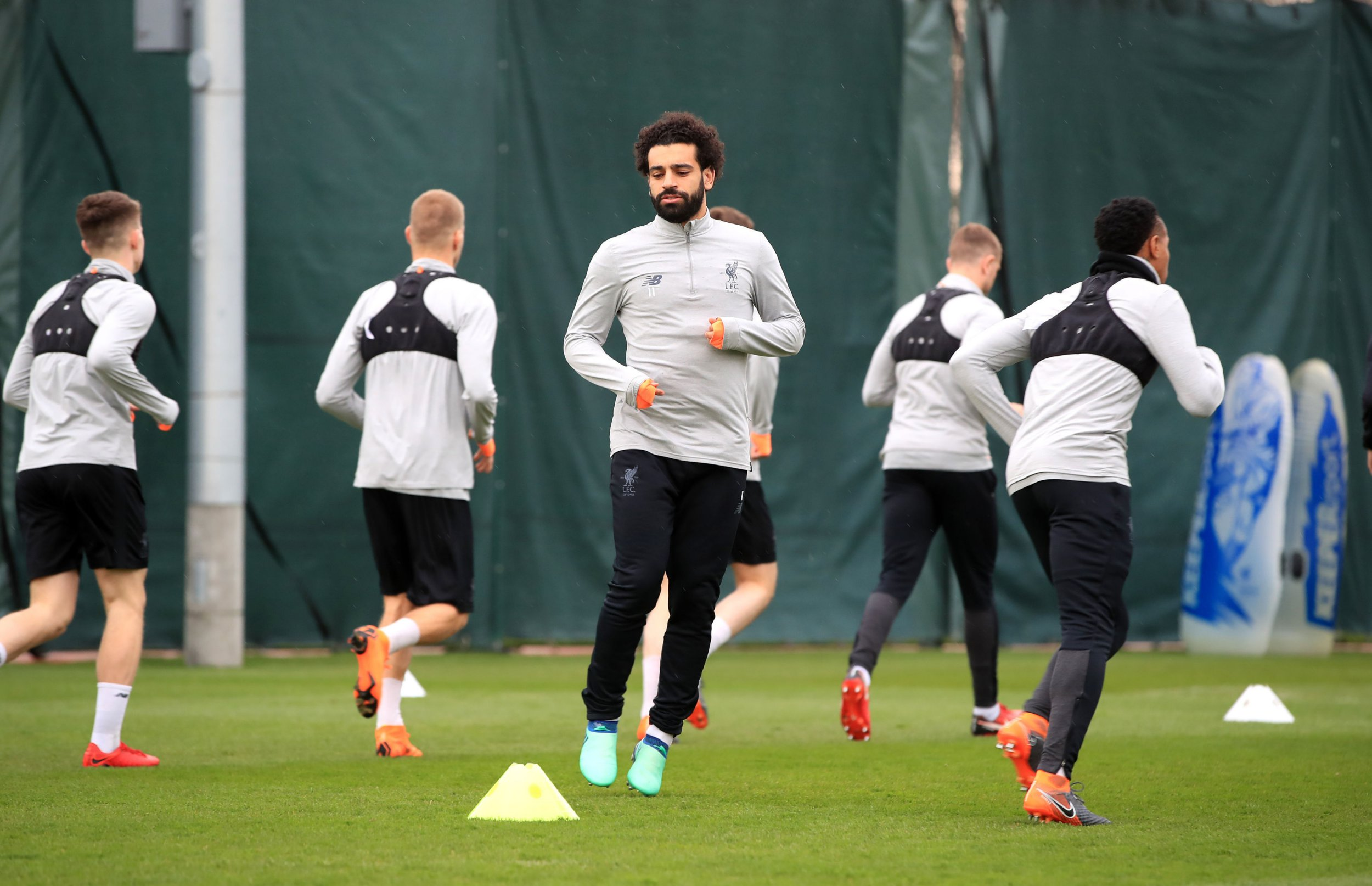 Liverpool's Mohamed Salah (centre) during the training session at Melwood, Liverpool. PRESS ASSOCIATION Photo. Picture date: Monday April 9, 2018. See PA story SOCCER Liverpool. Photo credit should read: Peter Byrne/PA Wire