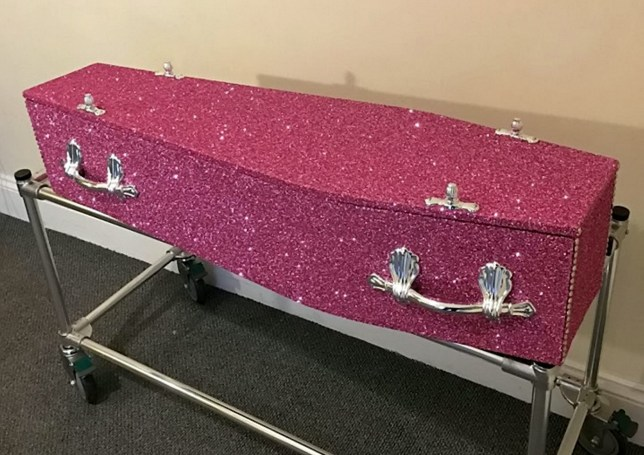 The Glitter Coffin Company in Plymouth, Devon, are selling coffins covered in glitter for those who want to go out with a certain style. See SWNS story SWGLITTER: A casket maker is offering the perfect way to go out in style - pimped-up COFFINS covered in glitter and bling. Husband and wife Chris and Dawn Nicholls set up The Glitter Coffin Company last year to expand their existing business that makes glitter furniture. The bespoke luxury sparkle coffins and caskets are now available to buy from most funeral directors across the UK. And they even feature the same type of glitter used on Jimmy Choo shoes.