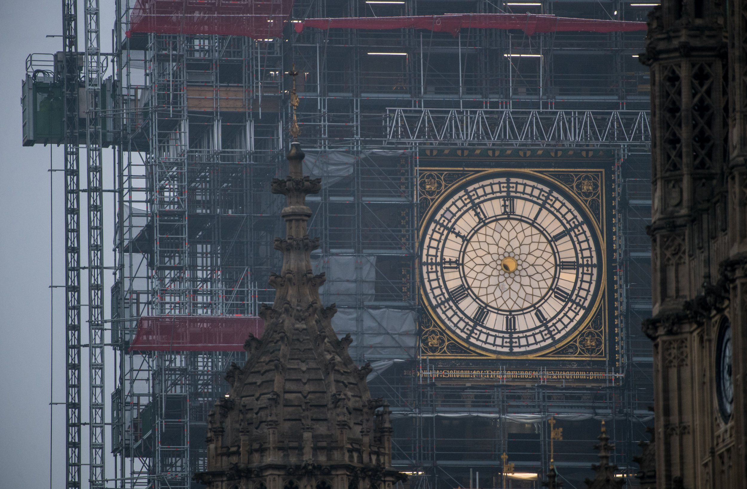 LONDON, ENGLAND - APRIL 12: A clock face on Elizabeth Tower, commonly known as Big Ben, is seen without its hour and minute hands as conservation work continues on the Houses of Parliament on April 12, 2018 in London, England. An estimated total of ??61 million is being spent on the conservation of Elizabeth Tower, works are expected to be completed by 2021. (Photo by Chris J Ratcliffe/Getty Images)