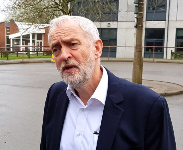 Labour leader Jeremy Corbyn speaks to the media outside Littleover Community School in Derby, where he launched a new policy on bus travel for young people. PRESS ASSOCIATION Photo. Picture date: Thursday April 12, 2018. See PA story TRANSPORT Buses. Photo credit should read: Dave Higgens/PA Wire