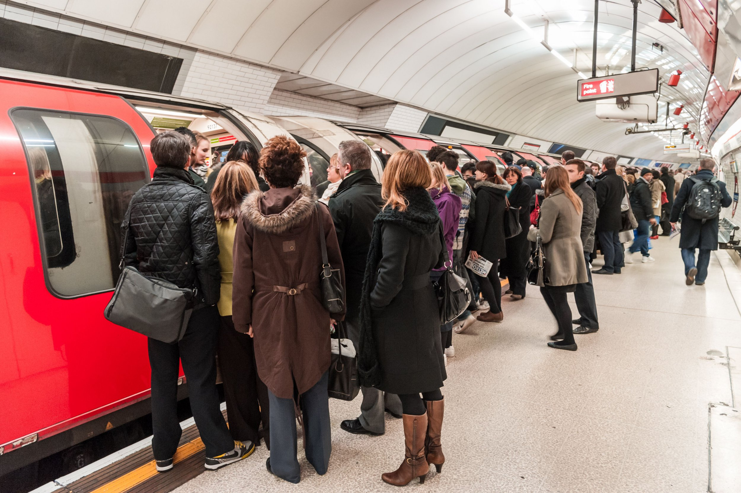 Mandatory Credit: Photo by Alex Segre/REX/Shutterstock (4288729j) Commuters trying to board overcrowded Central Line London Underground train during the morning rush hour, UK London