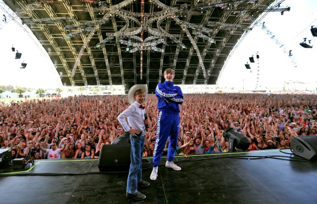 INDIO, CA - APRIL 13: Viral internet sensation Mason Ramsey aka The Walmart Yodeling Boy, (L) and DJ Whethan pose onstage during the 2018 Coachella Valley Music And Arts Festival at the Empire Polo Field on April 13, 2018 in Indio, California. (Photo by Natt Lim/Getty Images for Coachella)