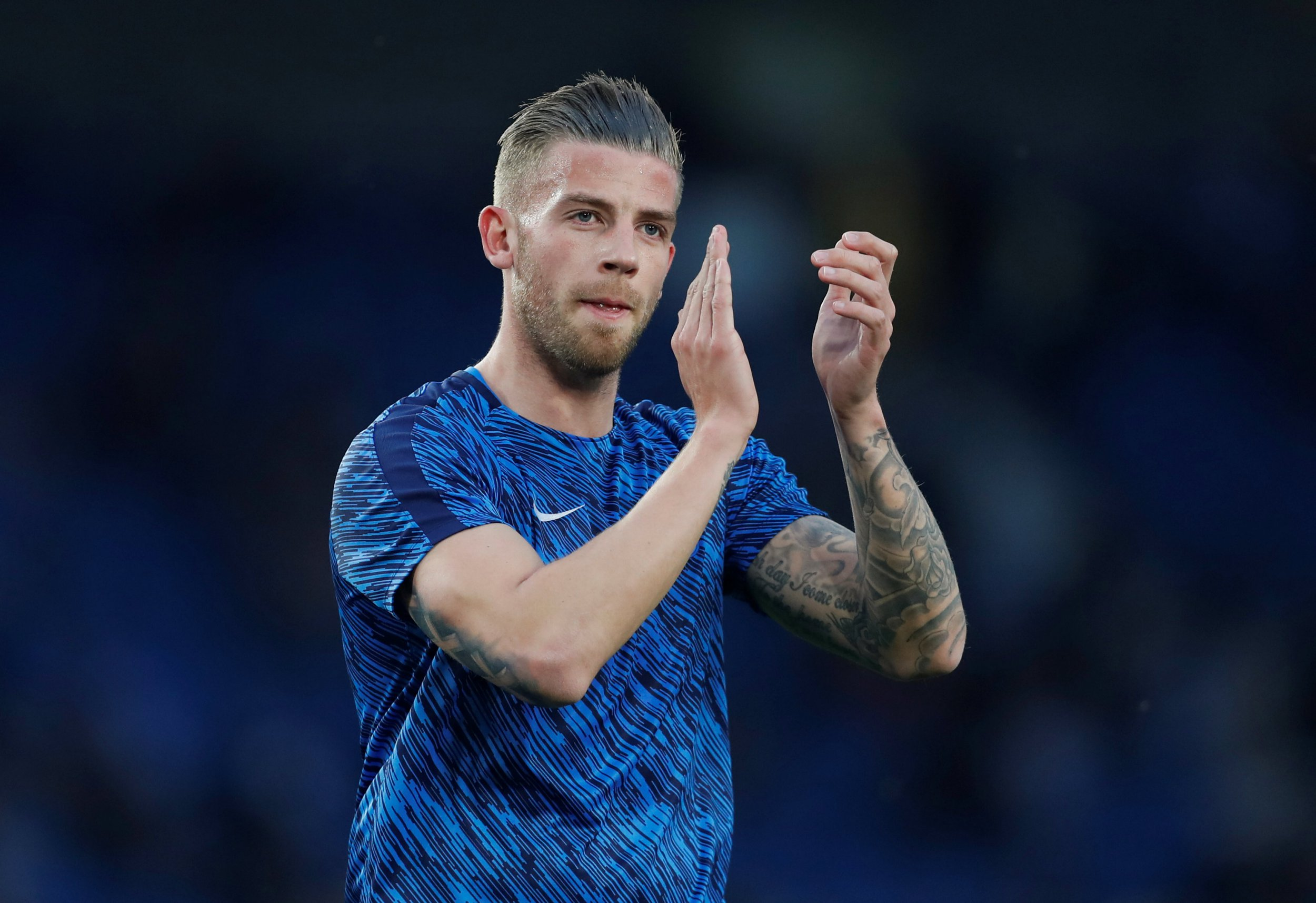 """Soccer Football - Premier League - Brighton & Hove Albion vs Tottenham Hotspur - The American Express Community Stadium, Brighton, Britain - April 17, 2018 Tottenham's Toby Alderweireld during the warm up before the match Action Images via Reuters/Matthew Childs EDITORIAL USE ONLY. No use with unauthorized audio, video, data, fixture lists, club/league logos or """"live"""" services. Online in-match use limited to 75 images, no video emulation. No use in betting, games or single club/league/player publications. Please contact your account representative for further details."""