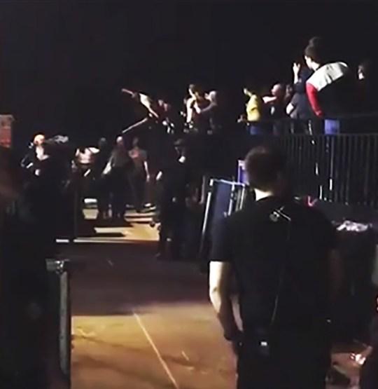 Fan appears to jump on Lana Del Rey after gig METRO GRAB taken from: http://video.metro.co.uk/video/met/2018/04/18/974742983663634166/640x360_MP4_974742983663634166.mp4 Credit: heylens13/Instagram