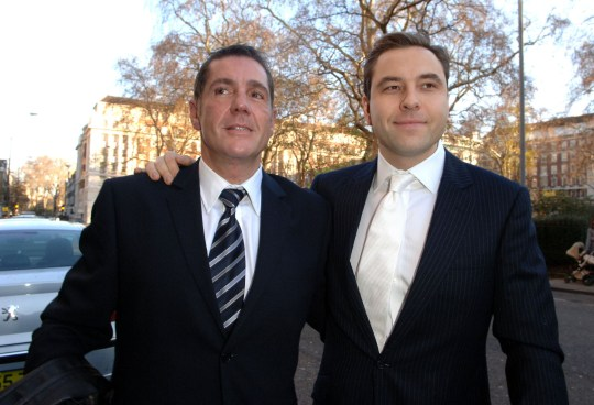 Dale Winton and David Walliams during Matt Lucas and Kevin McGee - Civil Partnership Ceremony at Home House in London, Great Britain. (Photo by C. Uncle/FilmMagic)