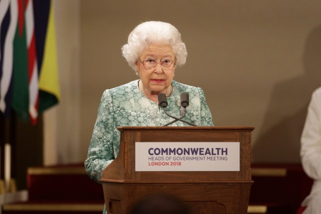 Queen Elizabeth II speaks at the formal opening of the Commonwealth Heads of Government Meeting in the ballroom at Buckingham Palace in London. PRESS ASSOCIATION Photo. Picture date: Thursday April 19, 2018. See PA story ROYAL Commonwealth. Photo credit should read: Yui Mok/PA Wire
