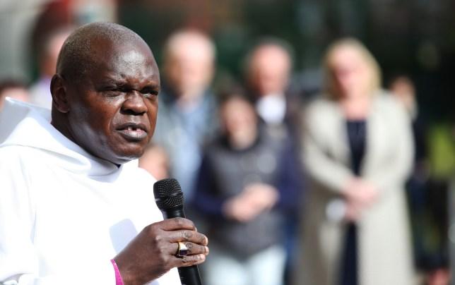 The Archbishop of York Dr John Sentamu during the Easter baptisms outside York Minster as part of the Easter celebrations.