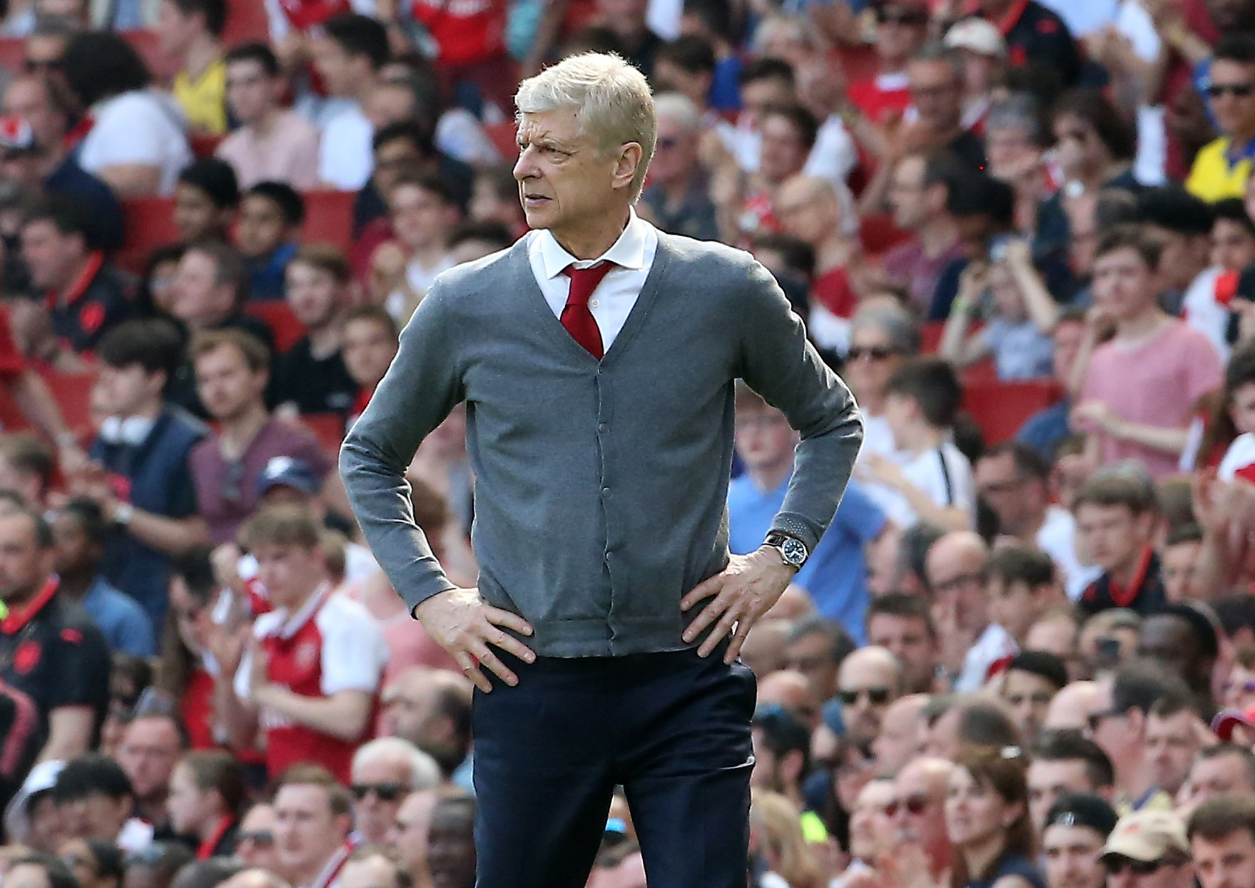 """Arsenal manager Arsene Wenger during the Premier League match at the Emirates Stadium, London. PRESS ASSOCIATION Photo. Picture date: Sunday April 22, 2018. See PA story SOCCER Arsenal. Photo credit should read: Mark Kerton/PA Wire. RESTRICTIONS: EDITORIAL USE ONLY No use with unauthorised audio, video, data, fixture lists, club/league logos or """"live"""" services. Online in-match use limited to 75 images, no video emulation. No use in betting, games or single club/league/player publications."""