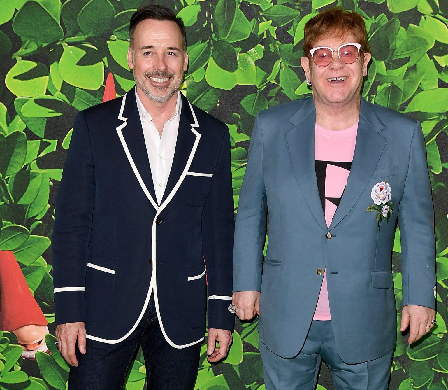 LONDON, ENGLAND - APRIL 22: David Furnish (L) and Elton John attend the 'Sherlock Gnomes' London Family Gala hosted by Sir Elton John and David Furnish at Cineworld Leicester Square on April 22, 2018 in London, England. (Photo by Stuart C. Wilson/Getty Images for Paramount Pictures)