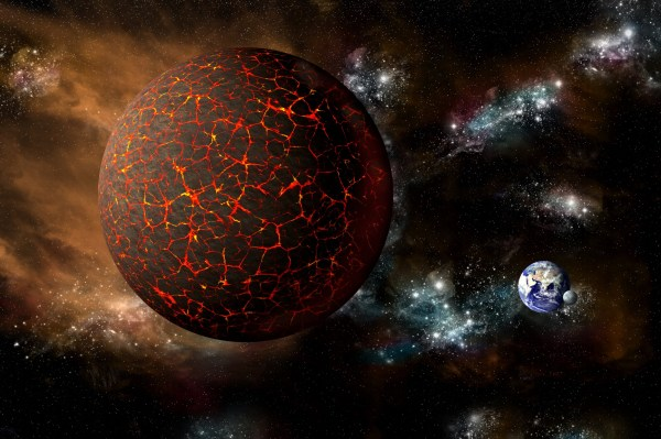 A depiction of the mythical planet known as Nibiru or Planet X as it hurtles toward a cataclysmic rendezvous with Earth. - Elements of this image furnished by NASA; Shutterstock ID 366165827