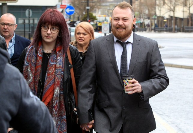 Mark Meechan arrives at Paisley Sherriff Court, with girlfriend Suzanne Kelly, were is to be sentenced after being found guilty of a hate crime. April 23 2018. See Centre Press story CPNAZI; A man who taught his girlfriend's pet pug to give Nazi salutes to be sentenced for the hate crime as Tommy Robinson arrives to offer moral support.