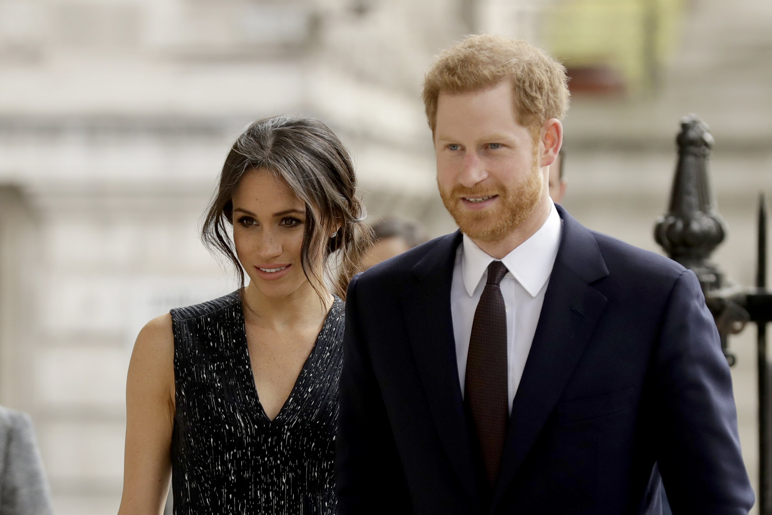 Britain's Prince Harry and his fiancee Meghan Markle arrive to attend a Memorial Service to commemorate the 25th anniversary of the murder of black teenager Stephen Lawrence at St Martin-in-the-Fields church in London, Monday, April 23, 2018. (AP Photo/Matt Dunham)
