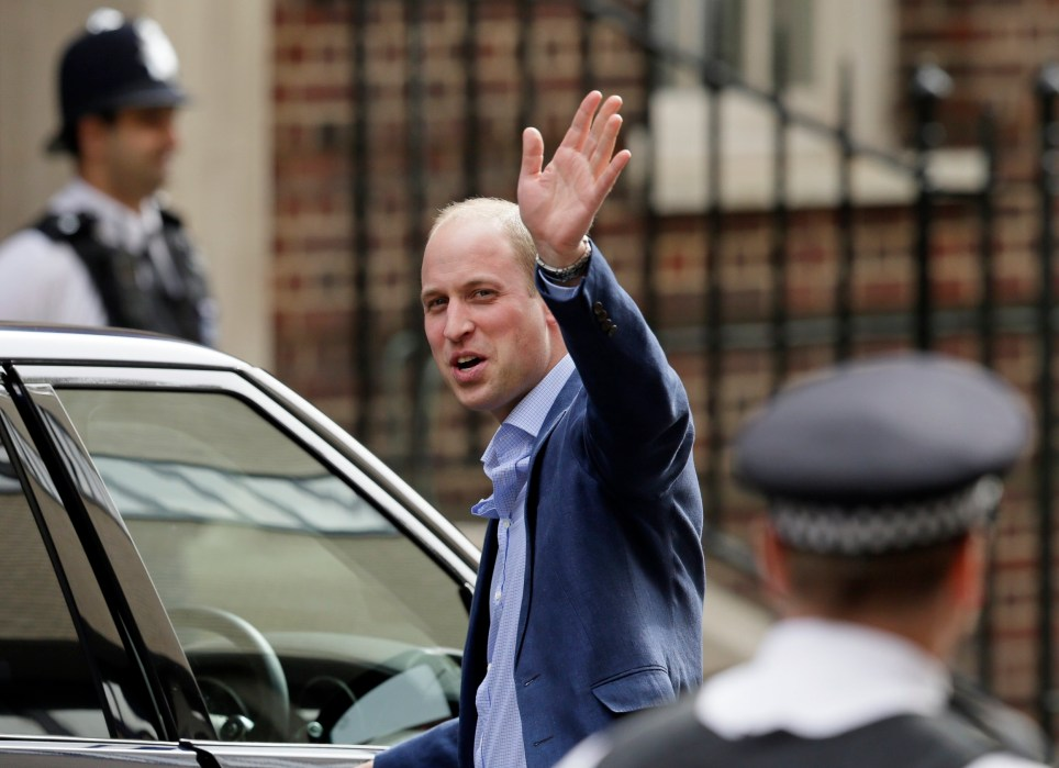 Britain's Prince William waves as he leaves the Lindo wing at St Mary's Hospital in London London, Monday, April 23, 2018. The Duchess of Cambridge gave birth Monday to a healthy baby boy ??? a third child for Kate and Prince William and fifth in line to the British throne. (AP Photo/Tim Ireland)